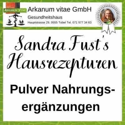 Nahrungsergänzungen Pulver der Marke Sandra Fust's